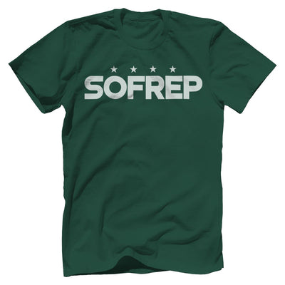 "SOFREP ""4-Star Front and Center"" Tee T-Shirts SOFREP Premium Men's Tee Forest Green XS"