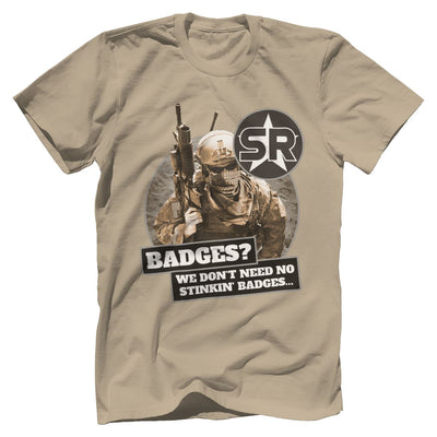 "SOFREP ""Badges"" Tee T-Shirts Print Brains Premium Men's Tee Sand XS"
