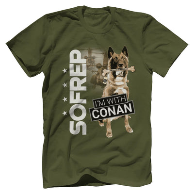 I'm With Conan 2 Tee T-Shirts Print Brains Premium Men's Tee Military Green XS