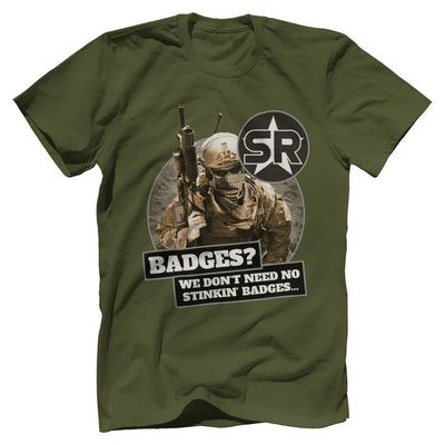 "SOFREP ""Badges"" Tee T-Shirts Print Brains Premium Men's Tee Military Green XS"