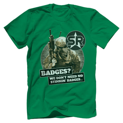 "SOFREP ""Badges"" Tee T-Shirts Print Brains Premium Men's Tee Kelly Green XS"
