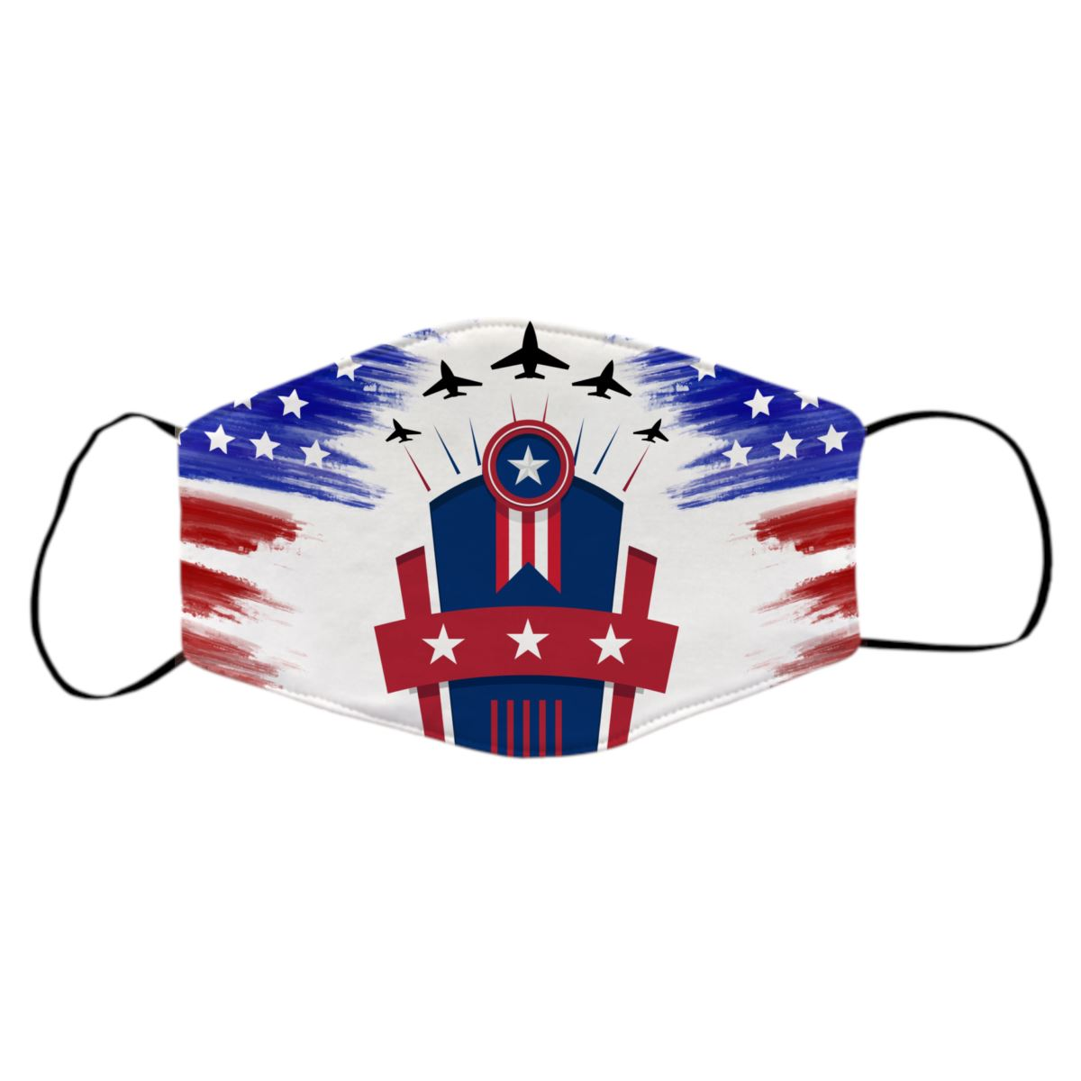 Reusable Face Mask - Fourth of July American Flags Protective Masks Print Brains Flyover