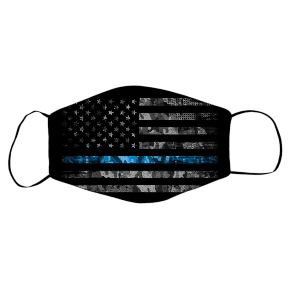Reusable Face Mask - American Flag With Blue Stripe Protective Masks Print Brains Black Flag