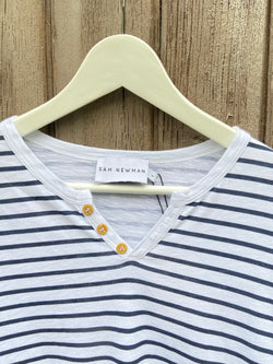 ESSENTIAL LONG SLEEVES NAVY STRIPES TSHIRT