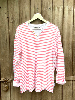 ESSENTIAL LONG SLEEVES CORAL STRIPES TSHIRT
