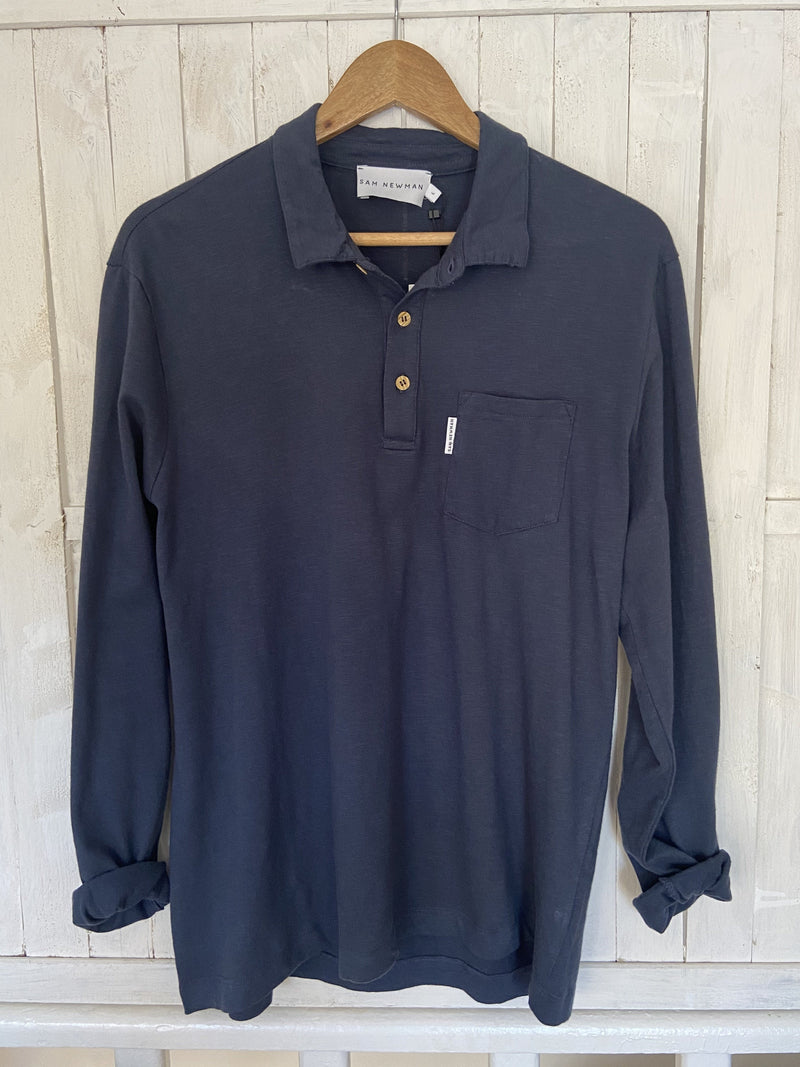 BASIC NAVY LONG SLEEVES POLO SHIRT