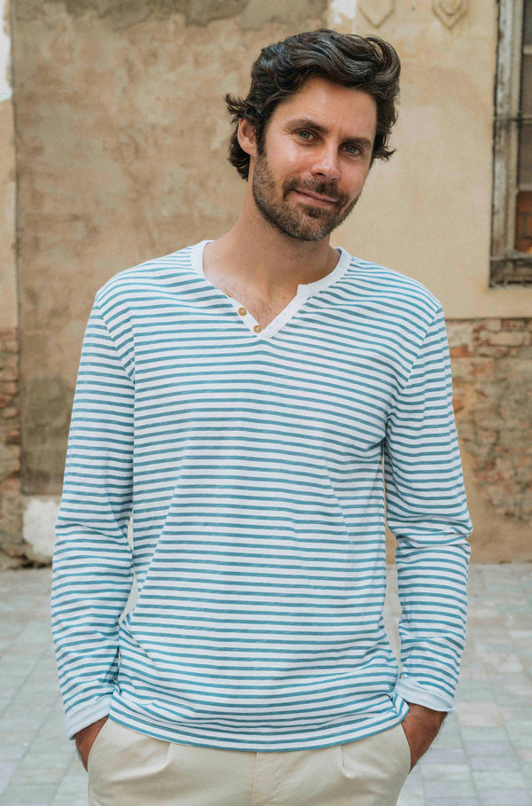 ESSENTIAL LONG SLEEVES STRIPES BLUE TSHIRT