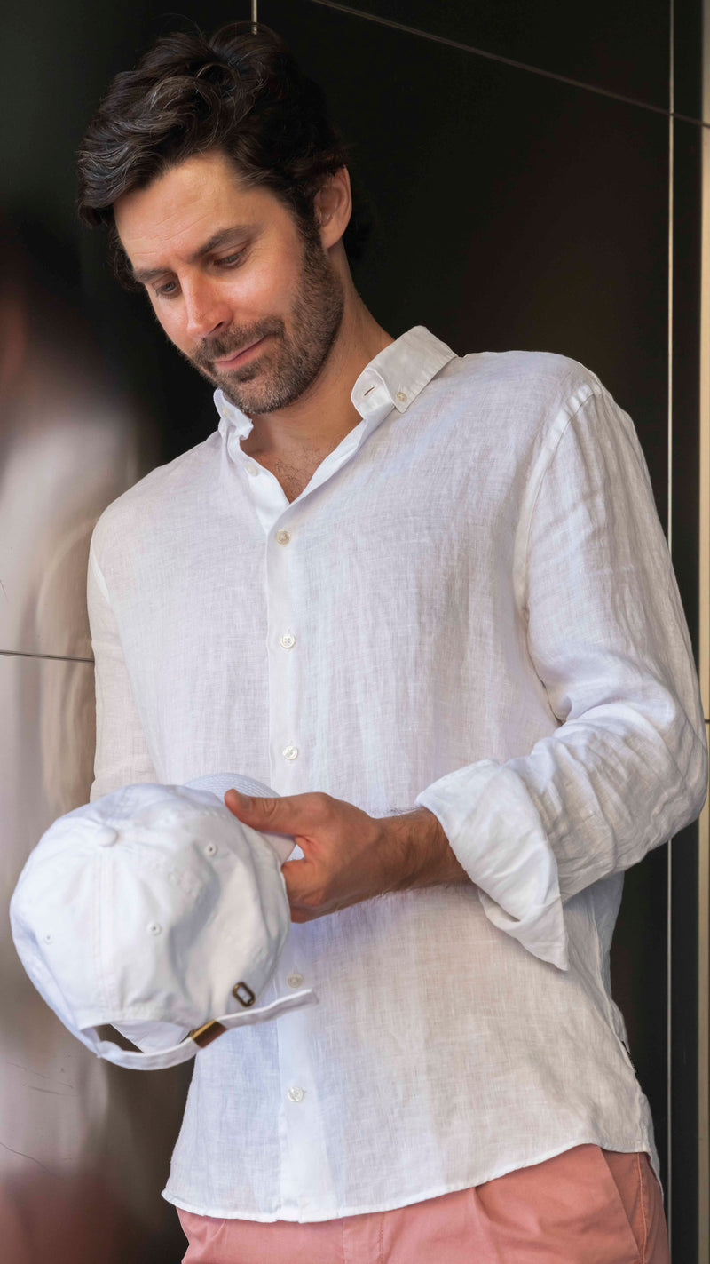 BASIC WHITE LINEN SAM SHIRT