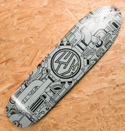 Lush Longboards Machine 3D X-Tuff Deck Prototype Light Grey Black Print - Blemished
