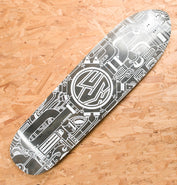 Lush Longboards Machine 3D X-Tuff Deck Prototype Grey Stain White Print - Blemished