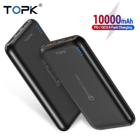 Image of TOPK 10000mAh Power Bank 18W Quick Charge 3.0 Type C PD Fast Charging Powerbank External Battery Charger for Mobile Phones