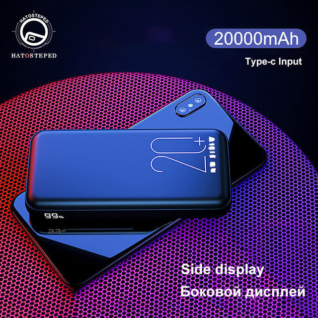 20000mAh Mini Power Bank Tpye-C Mirco USB Intput Quick Charge Side Display Portable Charger Dual USB Fast Output Powerbank
