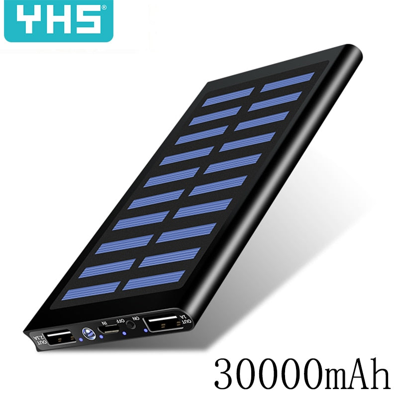 Solar 30000mah Power Bank External Battery 2 USB LED Powerbank Portable Mobile phone Solar Charger for Xiaomi mi iphone Samsung