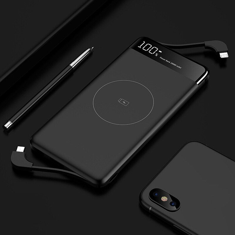 Slim 10000mAh Qi Wireless Charger Power Bank Portable External Battery Fast Wireless Charging Powerbank For Xiaomi Mi 9 iPhone