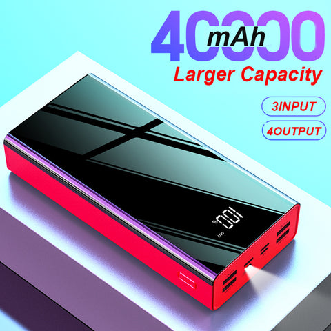 40000mAh Mirror Power Bank LED Digital Display PowerBank 2.1A FAST CHARGING 4 USB OUTPUT Phone Charger For Smart Phone Poverbank