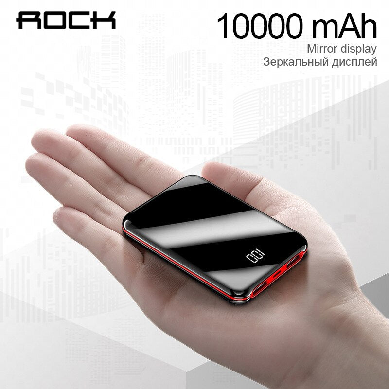 ROCK Mini 10000mAh Power Bank  LCD Display For xiaomi iPhone Portable Charger Powerbank External Battery Powerbank Fast Charging