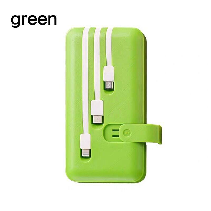 20000mAh Power Bank for Xiaomi Powerbank External Battery Built in 3 Cables Fast Portable Charger iPhone For Phones Poverbank