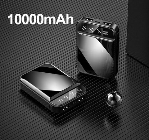 Image of Portable Power Bank 10000mAh with Digital Display Mirror Screen Powerbank 10000mAh For iPhone Xiaomi Fast Charging Pover Bank