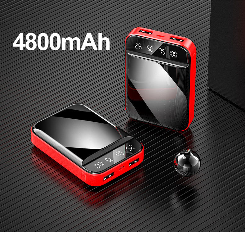 Portable Power Bank 10000mAh with Digital Display Mirror Screen Powerbank 10000mAh For iPhone Xiaomi Fast Charging Pover Bank