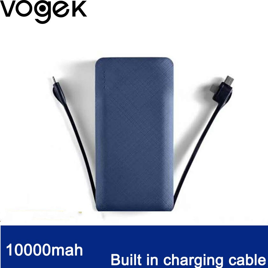 Vogek 10000mah Power Bank for iPhone X 8 Samsung S9 USB Type C Input with Charging Cable Powerbank  Portable External Battery