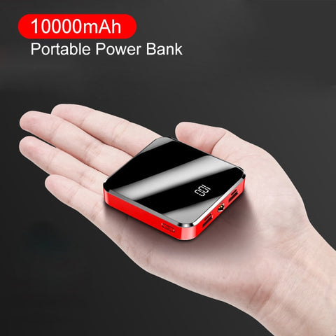 Image of ROCK Mini Power Bank 10000mAh Dual USB Ports External Battery Portable Powerbank with Mirror Screen Digital Display PoverBank