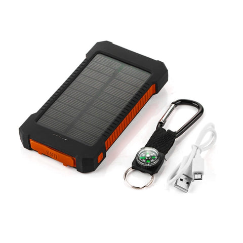 18650 Solar Power Bank Waterproof 10000mAh Solar Charger 2 USB External Charger LED Powerbank For iphone7 8 X Xiaomi