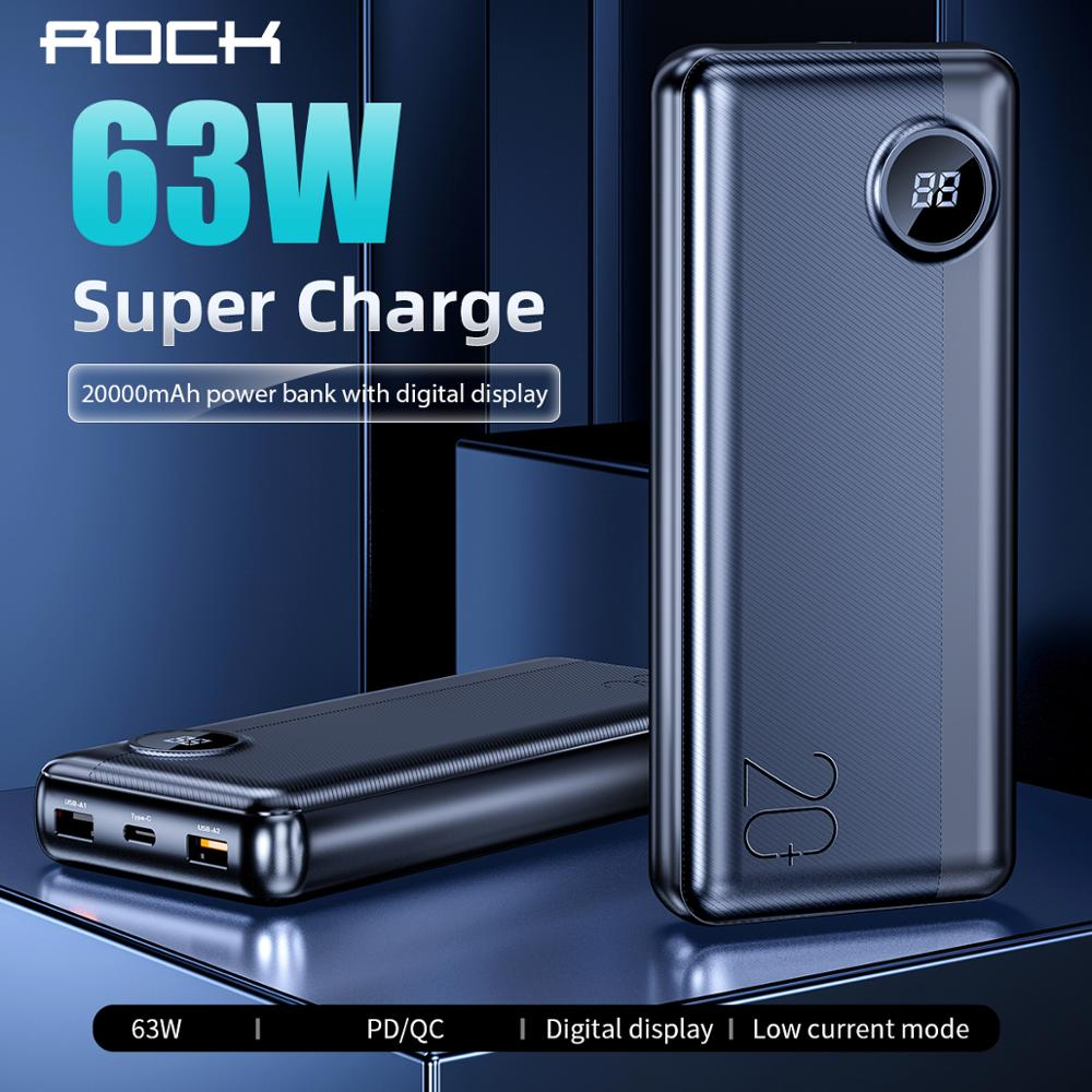 ROCK 20000 mAh Power Bank USB C PD Fast Quick 3.0 63W Portable External Battery Charger LED Display PowerBank for iPhone Xiaomi9