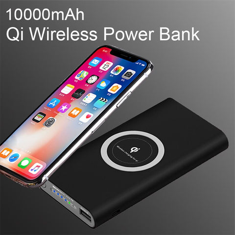 Image of Universal 10000mAh Power Bank Qi Wireless Charger for iPhone X  XS 8 7 Phone External Battery for Samsung Xiaomi OPPO Powerbank
