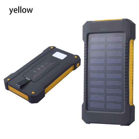 Image of CASEIER 8000mAh Powerbank Solar Waterproof Power Bank LED Light Powerbank 2 USB External Battery Pack Portable Wireless Charger