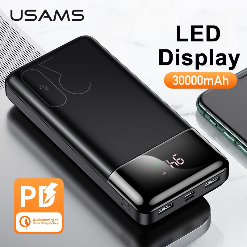 USAMS LED Display 30000mAh Power Bank PD3.0 Dual QC3.0 3A Fast Charging Portable Battery for iPhone X 8 Samsung Huawei Powerbank