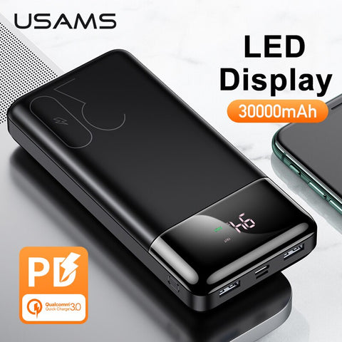 Image of USAMS LED Display 30000mAh Power Bank PD3.0 Dual QC3.0 3A Fast Charging Portable Battery for iPhone X 8 Samsung Huawei Powerbank