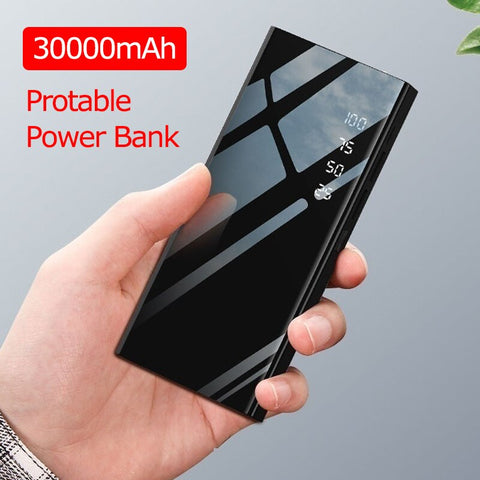 30000mAh Power Bank Mirror PowerBank Battery Charger LCD Dual USB Power Bank For IPhone X 8 7 6s Xiaomi Huawei P20 Lite
