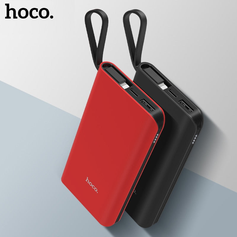 HOCO Power Bank 10000mAh Portable Fast Charging Cable Micro USB Type C Powerbank for iPhone X 8 Samsung External Battery Charger