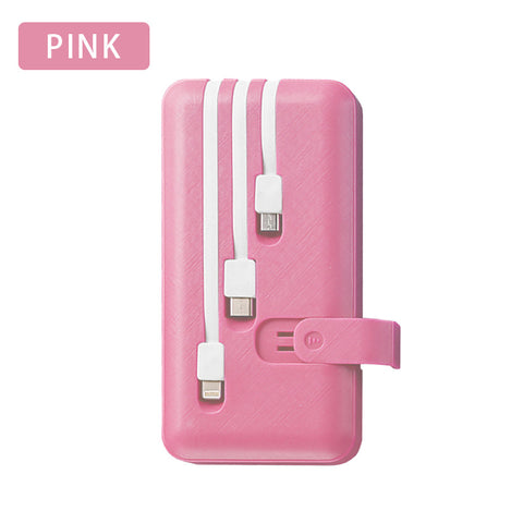 Image of Power Bank 10000mAh Portable Fast Charger PowerBank 10000 mAh Built in 3 Cables External Battery Poverbank For Xiaomi Mi iPhone