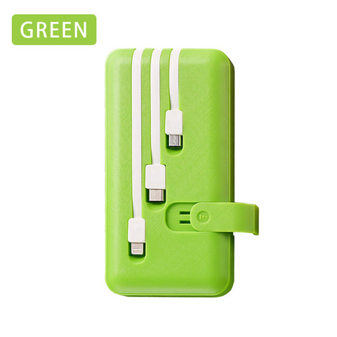 Power Bank 10000mAh Portable Fast Charger PowerBank 10000 mAh Built in 3 Cables External Battery Poverbank For Xiaomi Mi iPhone
