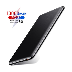 ROCK 10000mAh Power Bank 18W PD fast charge QC 3.0 Powerbank Portable Charger Universal Mobile Phone External Battery for Xiaomi