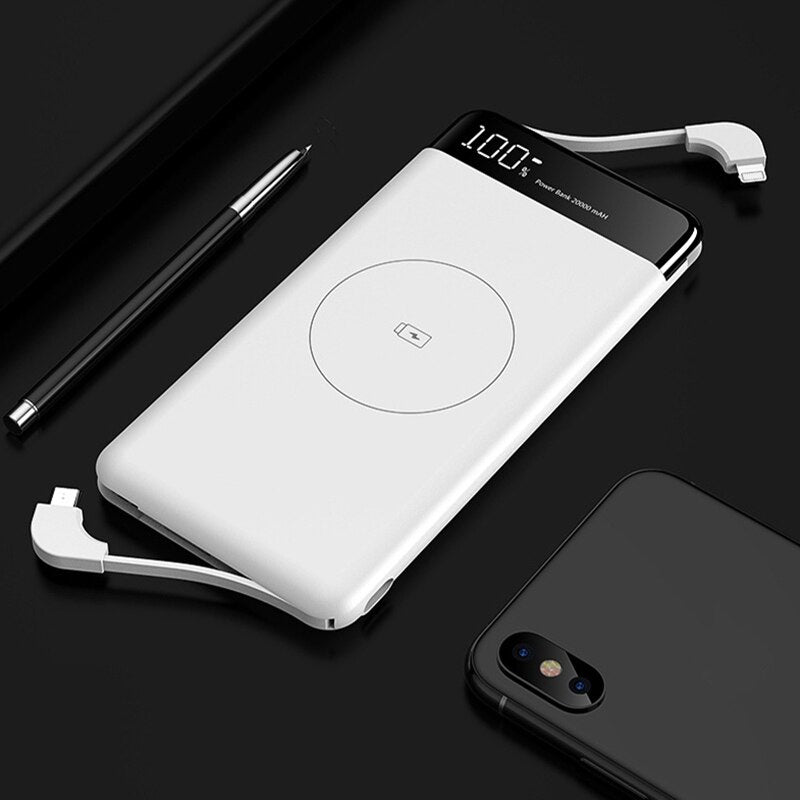 10000mAh Qi Wireless Charger Power Bank Ultra Thin Fast Wireless Charging Powerbank For Xiaomi Built in Cable External Battery