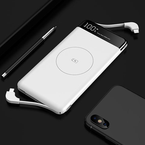 Image of 10000mAh Qi Wireless Charger Power Bank Ultra Thin Fast Wireless Charging Powerbank For Xiaomi Built in Cable External Battery