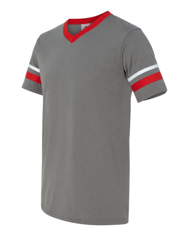 HOTSHOTS ADULT Augusta Sportswear - V-Neck Jersey with Striped Sleeves - Adult 360