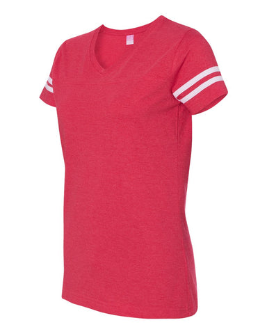 LADIES -  LAT - Women's Football V-Neck Fine Jersey Tee - 3537
