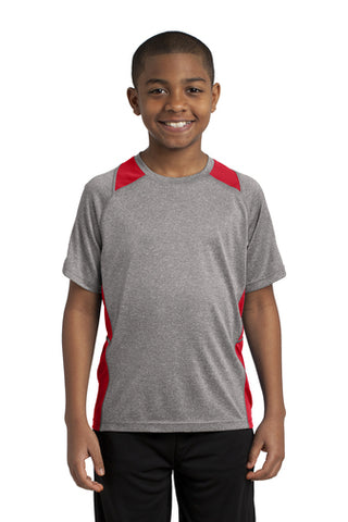 YOUTH -Sport-Tek® Short Sleeve Heather Colorblock Contender™ Tee.  YST361