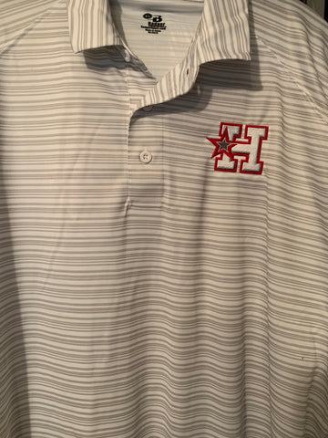 HOTSHOTS BADGER STRIP POLO - #332500	MEN'S	LOOSE