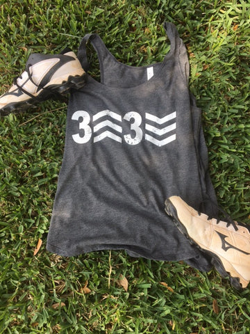 SALE -  3 Up 3 Down Screen Print Bella + Canvas - Women's Flowy Racerback Tank - 8800