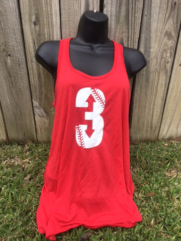 3 Up 3 Down Glitter  Bella + Canvas - Women's Flowy Racerback Tank - 8800 - Red