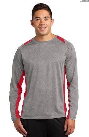 ADULT -Sport-Tek® Long Sleeve Heather Colorblock Contender™ Tee. ST361LS