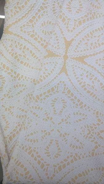 Yellow and White Jacquard