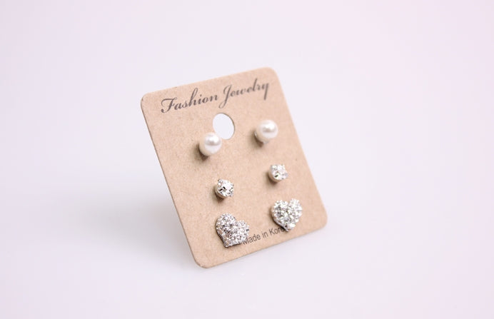 Heart Pearl Earring Set