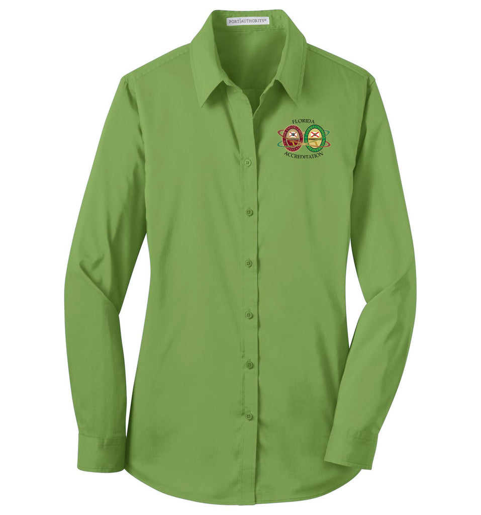 Florida Accreditation Office - Dual Logo - L646 Ladies Port Authority Stretch Poplin Shirt
