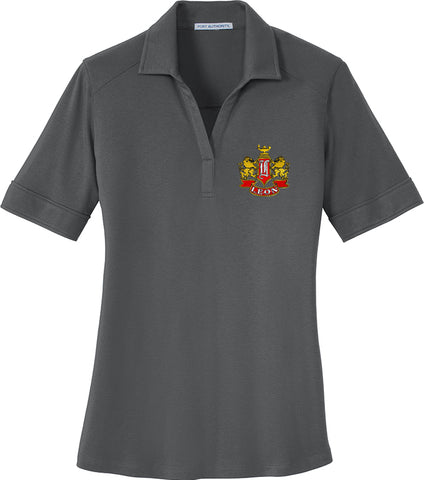 Leon Crest Embroidered Ladies Silk Touch Interlock Performance Polo