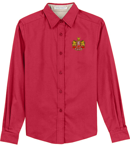 Leon Crest Embroidered Ladies Long Sleeve Easy Care Shirt